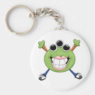 Monster Mash · Green Three-Eyed Monster Basic Round Button Key Ring