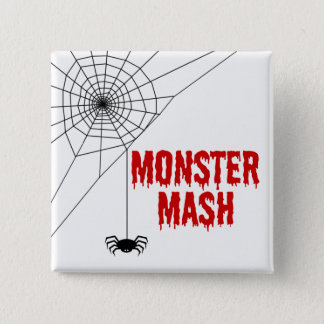 Monster Mash Halloween Spider Web 15 Cm Square Badge