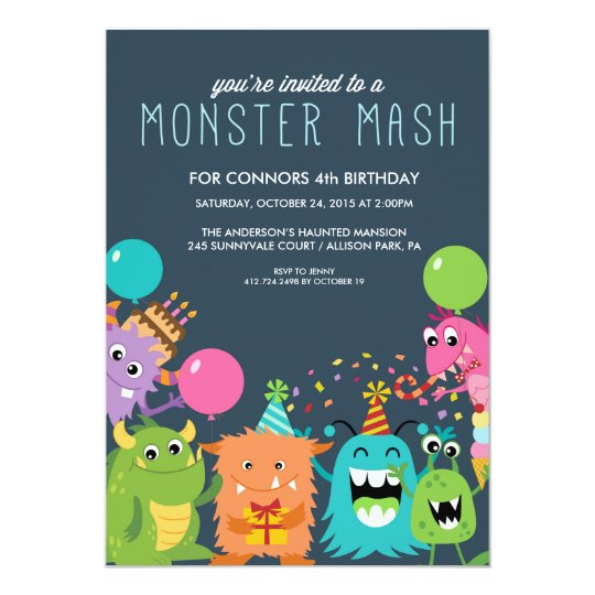 MONSTER MASH KIDS BIRTHDAY PARTY INVITATION invite
