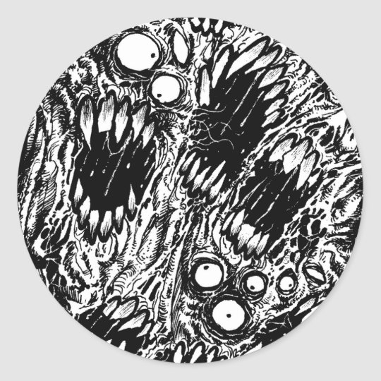 Monster Mouth Horror Art Classic Round Sticker