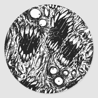 Monster Mouth Horror Art Round Sticker
