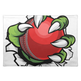 Monster or animal claw holding Cricket Ball Placemat