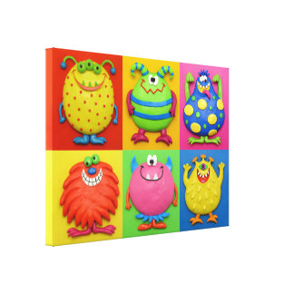 Monster Party Baby Boy Shower Nursery Stretched Canvas Print