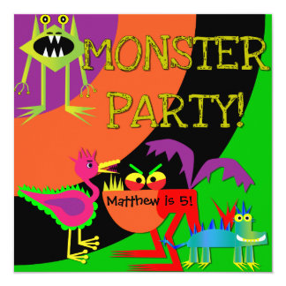 Monster Party Customized Birthday Invitations