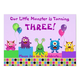 Monster (Purple) Birthday Invitation