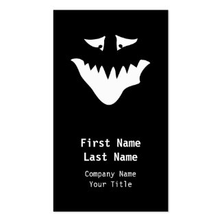 Monster Scary Face, in White. Pack Of Standard Business Cards