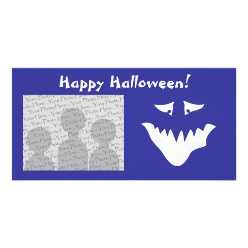 Monster Scary Face, in White. Photo Card Template