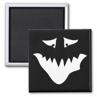 Monster Scary Face, in White. Square Magnet