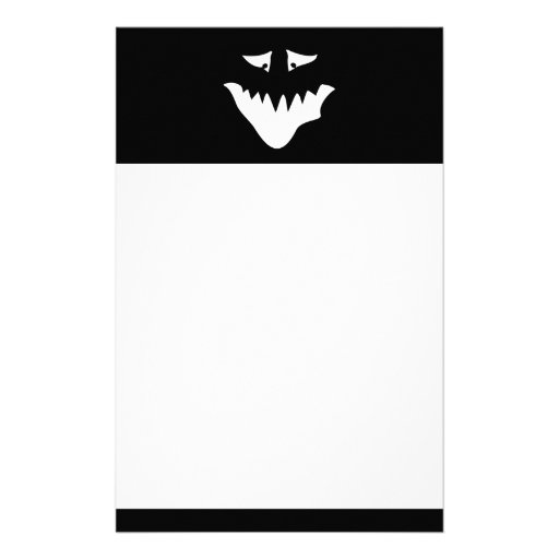 Monster Scary Face, in White. Stationery Paper