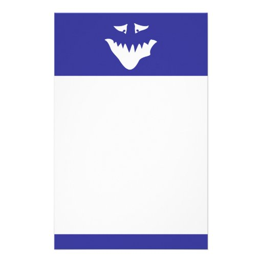 Monster Scary Face, in White. Custom Stationery