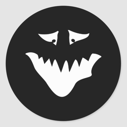 Monster Scary Face, in White. Round Stickers