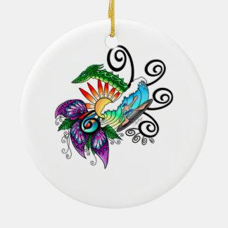 Monster Surf Dreams Round Ceramic Decoration