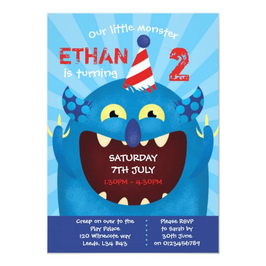 Monster themed birthday party invitation