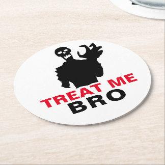 Monster Treat Me Bro funny Halloween customizable Round Paper Coaster