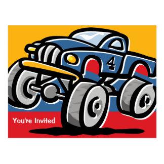 Monster Truck 4th Birthday Postcard Invitations