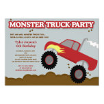 Monster Truck Birthday Party (Red / Grey Colours) 13 Cm X 18 Cm Invitation Card