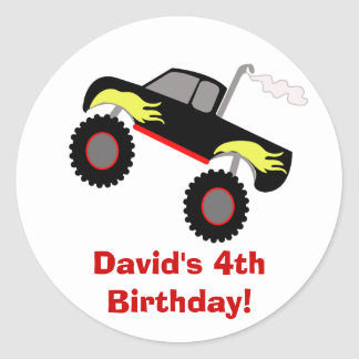 Monster Truck Birthday Personalized Sticker