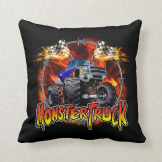 Monster Truck blue on Fire Cushion