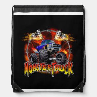 Monster Truck blue on Fire Drawstring Bag