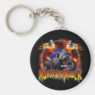 Monster Truck blue on Fire Key Ring