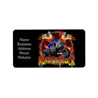 Monster Truck blue on Fire Label