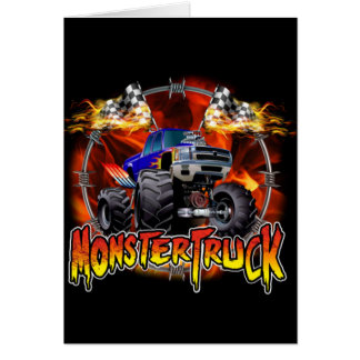 Monster Truck blue on Fire Note Card