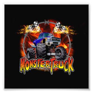 Monster Truck blue on Fire Photo