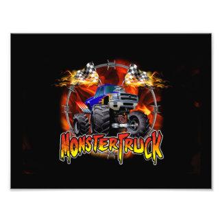 Monster Truck blue on Fire Photo Print