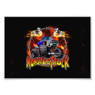 Monster Truck blue on Fire Photographic Print