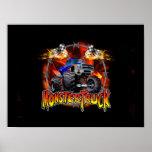 Monster Truck blue on Fire Poster