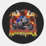 Monster Truck blue on Fire Round Sticker