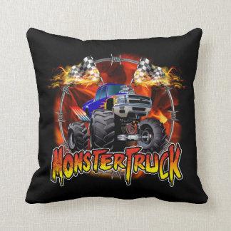 Monster Truck blue on Fire Throw Pillow