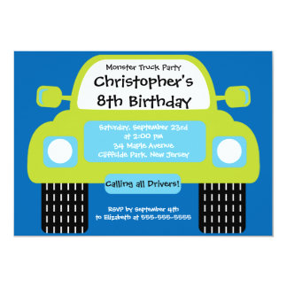 Monster Truck Boys Birthday Party Invitations