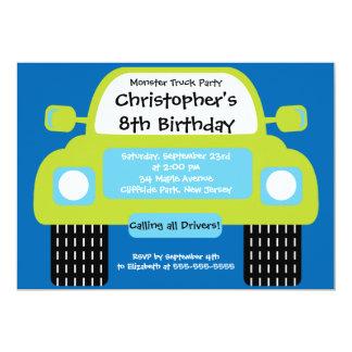 "Monster Truck Boys Birthday Party Invitations 5"" X 7"" Invitation Card"