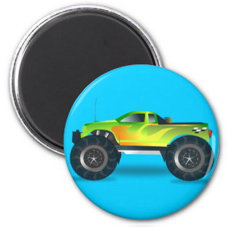 Monster Truck. Cool and colorful modified Pick up 6 Cm Round Magnet