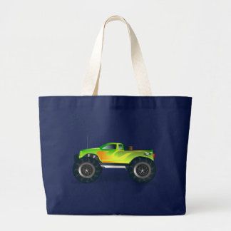 Monster Truck. Cool and colorful modified Pick up Large Tote Bag