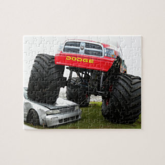 Monster Truck Smashing Car Jigsaw Puzzle