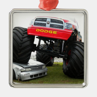 Monster Truck Smashing Car Silver-Colored Square Decoration
