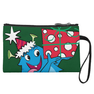 Monster with Christmas Gift Wristlet Purse