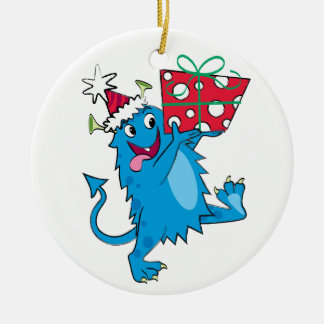 Monster with Christmas Gift Christmas Ornament