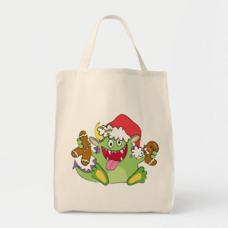 Monster with Gingerbread Man Grocery Tote Bag