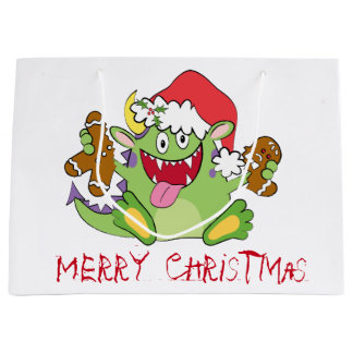 Monster with Gingerbread Man Large Gift Bag