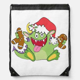 Monster with Gingerbread Man Drawstring Bags