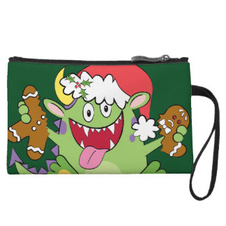 Monster with Gingerbread Man Wristlet Clutches