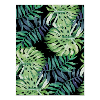 Monstera Deliciosa Hawaiian Island Tropics Leaves Poster