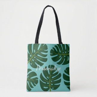 Monstera Deliciosa palm leaf floral print tote bag