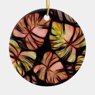 Monstera Delliciosa - Salmos in Black Round Ceramic Decoration