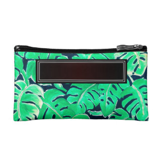 Monstera Green Add Name Cosmetic Bags