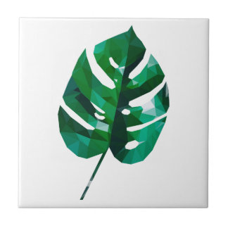 Monstera Leaf Design Small Square Tile