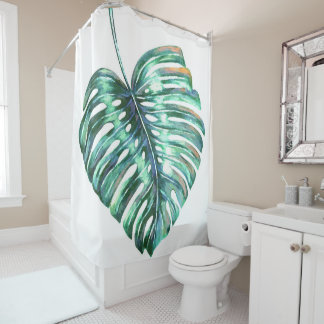 Monstera leaf palm tropical watercolor shower curtain